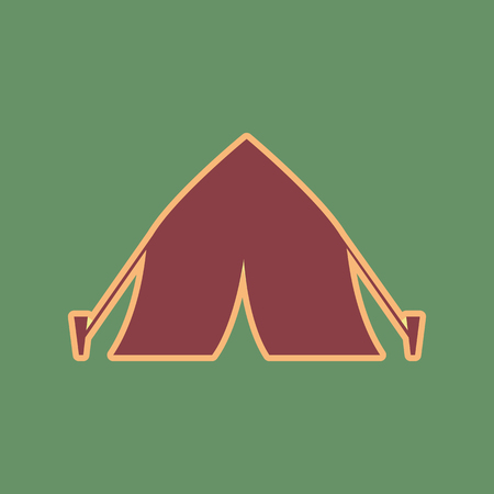 Tourist tent sign. Vector. Cordovan icon and mellow apricot halo with light khaki filled space at russian green background.