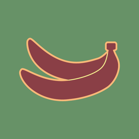 khaki: Banana simple sign. Vector. Cordovan icon and mellow apricot halo with light khaki filled space at russian green background. Illustration