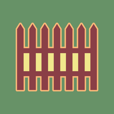 Fence simple sign. Vector. Cordovan icon and mellow apricot halo with light khaki filled space at russian green background. Illustration