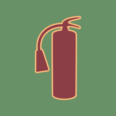 Fire extinguisher sign. Vector. Cordovan icon and mellow apricot halo with light khaki filled space at russian green background.