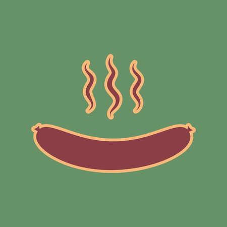 Sausage simple sign. Vector. Cordovan icon and mellow apricot halo with light khaki filled space at russian green background. Illustration