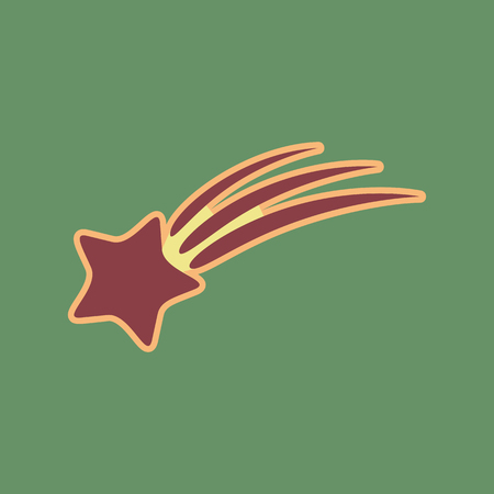 Meteor shower sign. Vector. Cordovan icon and mellow apricot halo with light khaki filled space at russian green background.