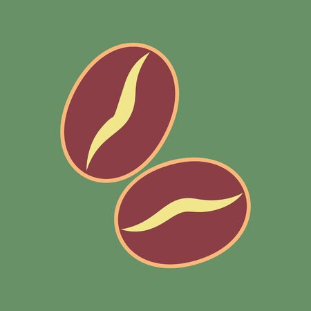 Coffee beans sign. Vector. Cordovan icon and mellow apricot halo with light khaki filled space at russian green background.