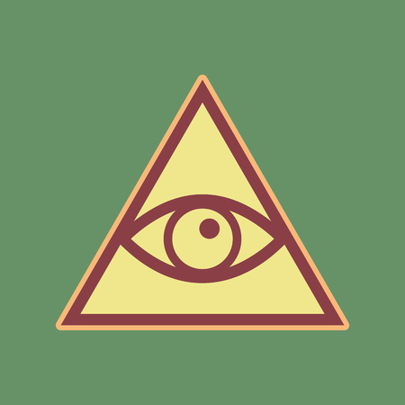 All seeing eye pyramid symbol. Freemason and spiritual. Vector. Cordovan icon and mellow apricot halo with light khaki filled space at russian green background.