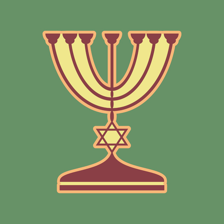 Jewish Menorah candlestick in black silhouette. Vector. Cordovan icon and mellow apricot halo with light khaki filled space at russian green background. Illustration