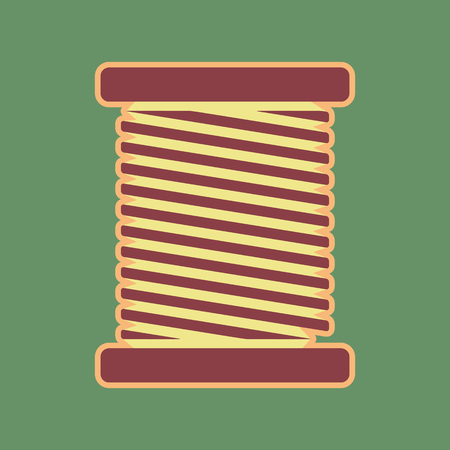 khaki: Thread sign illustration. Vector. Cordovan icon and mellow apricot halo with light khaki filled space at russian green background. Illustration