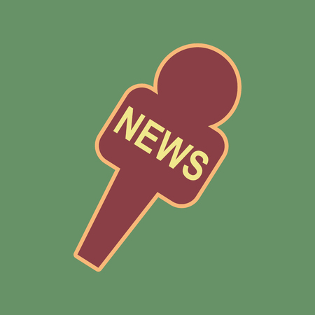 khaki: TV news microphone sign illustration. Vector. Cordovan icon and mellow apricot halo with light khaki filled space at russian green background. Illustration