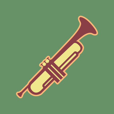 loudspeaker: Musical instrument Trumpet sign. Vector. Cordovan icon and mellow apricot halo with light khaki filled space at russian green background.