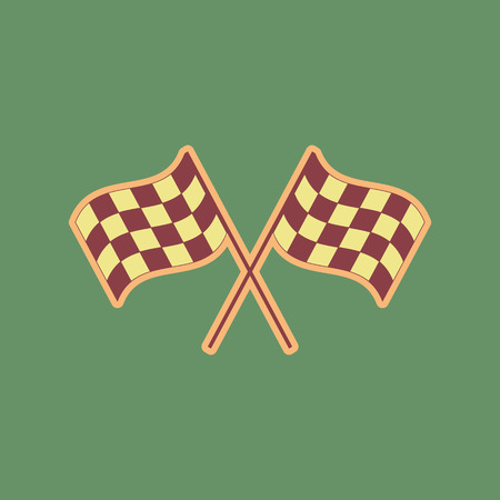 Crossed checkered flags waving in the wind conceptual of motor sport. Vector. Cordovan icon and mellow apricot halo with light khaki filled space at russian green background.