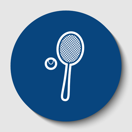 Tennis racquet with ball sign. Vector. White contour icon in dark cerulean circle at white background. Isolated.