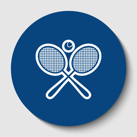 Two tennis racket with ball sign. Vector. White contour icon in dark cerulean circle at white background. Isolated.