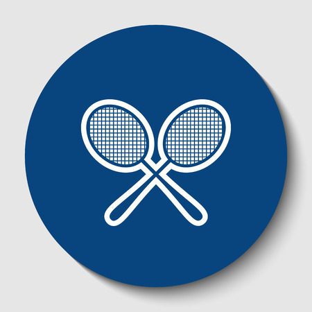 Two tennis racket sign. Vector. White contour icon in dark cerulean circle at white background. Isolated. Illustration