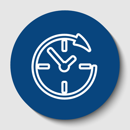 Service and support for customers around the clock and 24 hours. Vector. White contour icon in dark cerulean circle at white background. Isolated.