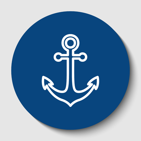 Anchor icon. Vector. White contour icon in dark cerulean circle at white background. Isolated.