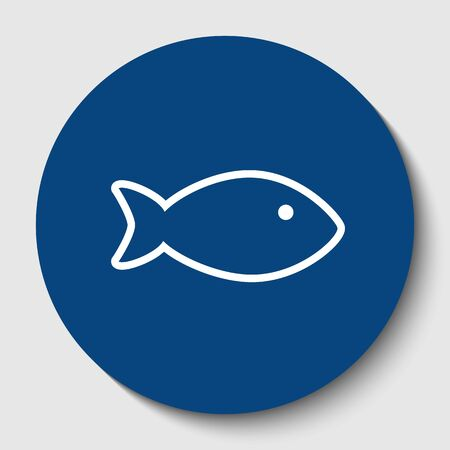 Fish sign illustration. Vector. White contour icon in dark cerulean circle at white background. Isolated.