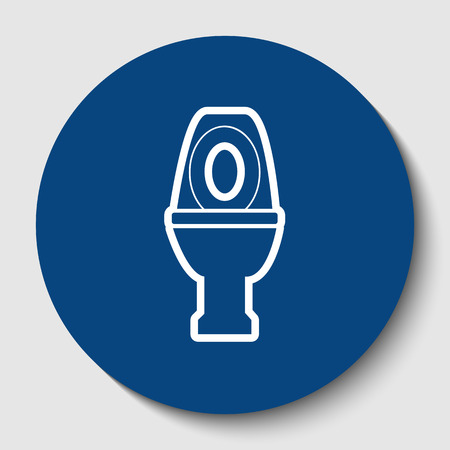 Toilet sign illustration. Vector. White contour icon in dark cerulean circle at white background.