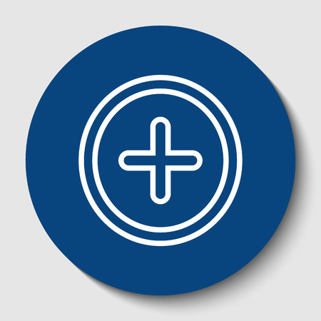 Positive symbol plus sign. Vector. White contour icon in dark cerulean circle at white background.