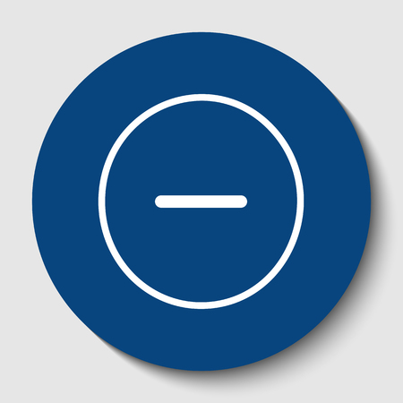 Negative symbol illustration. Minus sign. Vector. White contour icon in dark cerulean circle at white background.