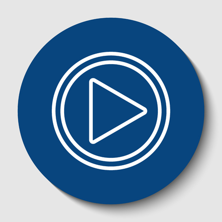 Play sign illustration. Vector. White contour icon in dark cerulean circle at white background. Isolated. Illustration