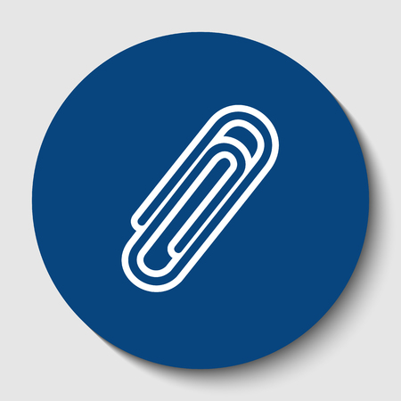 Clip sign illustration. Vector. White contour icon in dark cerulean circle at white background. Isolated. Illustration