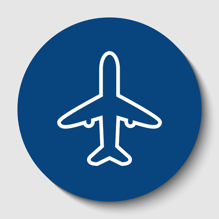 Airplane sign illustration. Vector. White contour icon in dark cerulean circle at white background. Isolated.