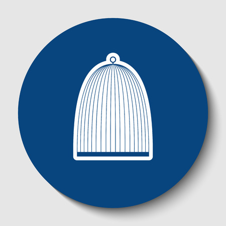 Bird cage sign. Vector. White contour icon in dark cerulean circle at white background. Isolated.