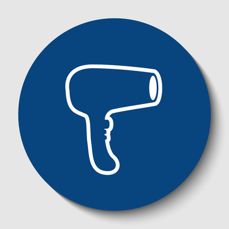 Hair Dryer sign. Vector. White contour icon in dark cerulean circle at white background. Isolated.