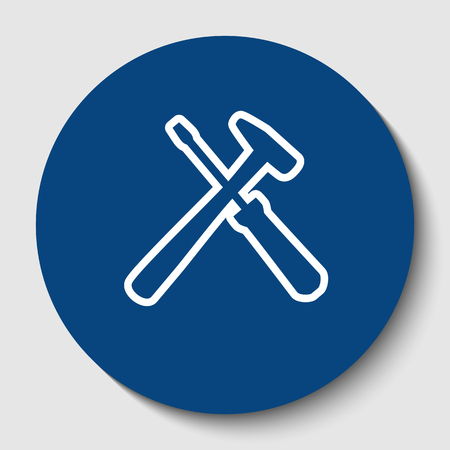 Tools sign illustration. Isolated vector. White contour icon in dark cerulean circle at white background. Çizim