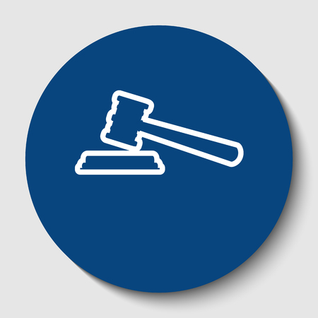 Justice hammer sign. Vector. White contour icon in dark cerulean circle at white background. Isolated.