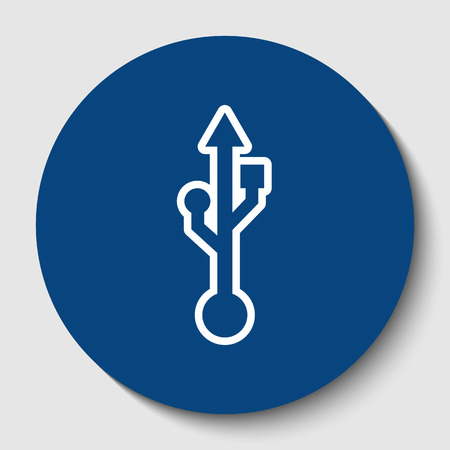 USB sign illustration. Vector. White contour icon in dark cerulean circle at white background. Isolated.