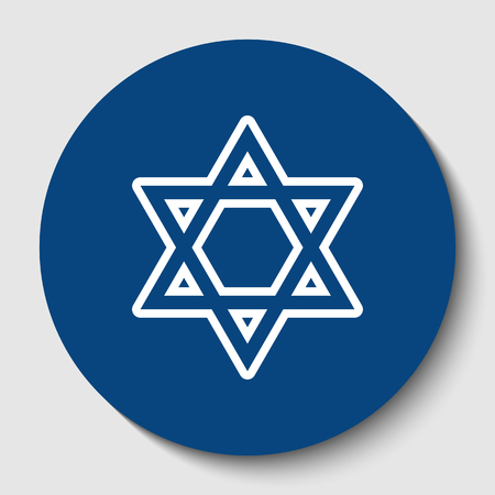 Shield Magen David Star. Symbol of Israel. Vector. White contour icon in dark cerulean circle at white background. Isolated. Illustration