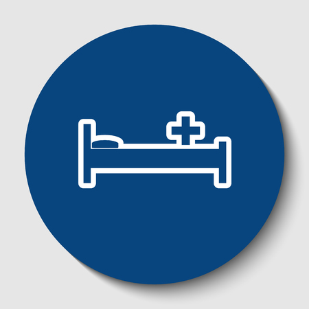 Hospital sign illustration. Vector. White contour icon in dark cerulean circle at white background. Isolated. Illustration