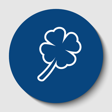 Leaf clover sign. Vector. White contour icon in dark cerulean circle at white background. Isolated.