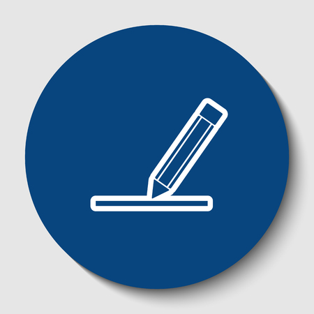 Pencil sign illustration. Vector. White contour icon in dark cerulean circle at white background. Isolated.