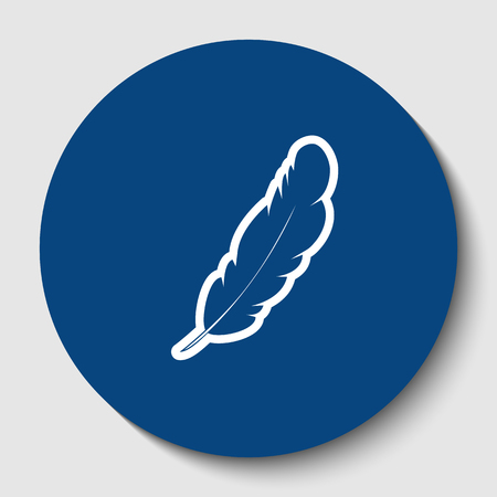 Feather sign illustration. Vector. White contour icon in dark cerulean circle at white background. Isolated.