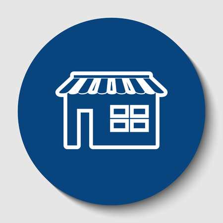 Store sign illustration. Vector. White contour icon in dark cerulean circle at white background. Isolated.