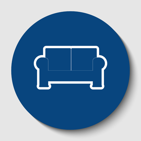 Sofa sign illustration. Vector. White contour icon in dark cerulean circle at white background. Isolated.