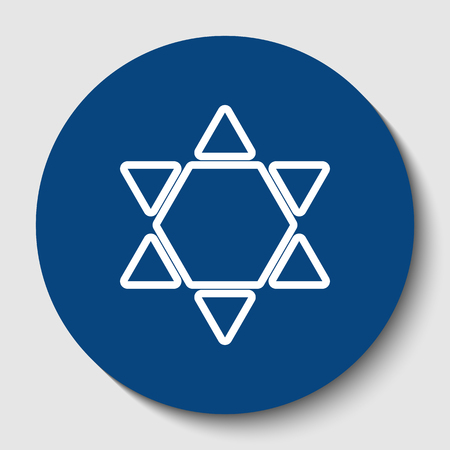 Shield Magen David Star Inverse. Symbol of Israel inverted. Vector. White contour icon in dark cerulean circle at white background. Isolated.