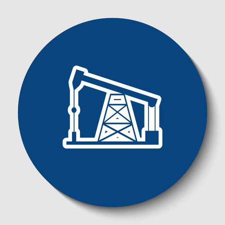 Oil drilling rig sign. Vector. White contour icon in dark cerulean circle at white background. Isolated.