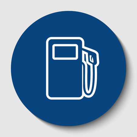 Gas pump sign. Vector. White contour icon in dark cerulean circle at white background. Isolated. Illustration
