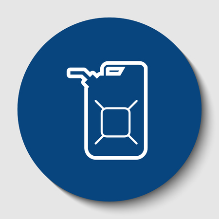 Jerrycan oil sign. Jerry can oil sign. Vector. White contour icon in dark cerulean circle at white background. Isolated.