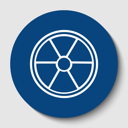 Radiation Round sign. Vector. White contour icon in dark cerulean circle at white background. Isolated.