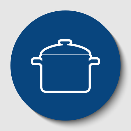 Cooking pan sign. Vector. White contour icon in dark cerulean circle at white background. Isolated. 일러스트