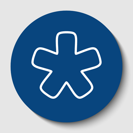 Asterisk star sign. Vector. White contour icon in dark cerulean circle at white background. Isolated.