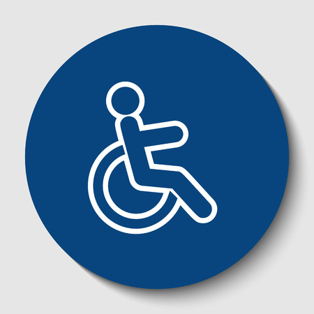 Disabled sign illustration. Vector. White contour icon in dark cerulean circle at white background. Isolated.