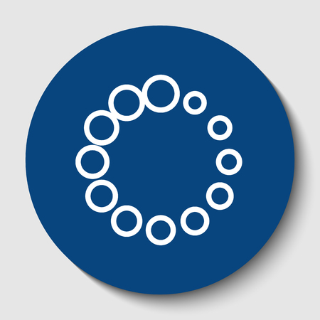 Circular loading sign. Vector. White contour icon in dark cerulean circle at white background. Isolated.