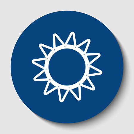 Sun sign illustration. Vector. White contour icon in dark cerulean circle at white background. Isolated. Illustration