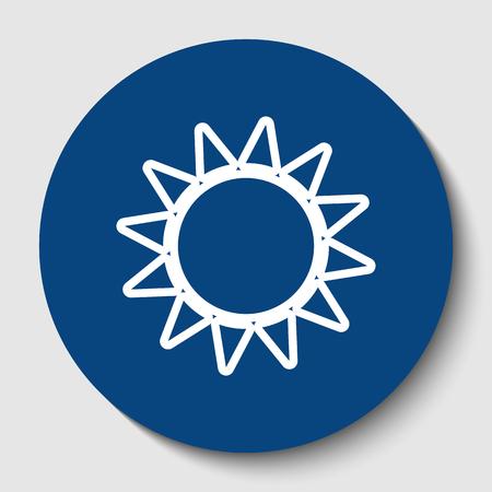 Sun sign illustration. Vector. White contour icon in dark cerulean circle at white background. Isolated. Illusztráció