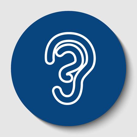人間の解剖学.耳の標識です。ベクトル。白い背景に暗いセルリアン円の白い輪郭のアイコン。分離されました。