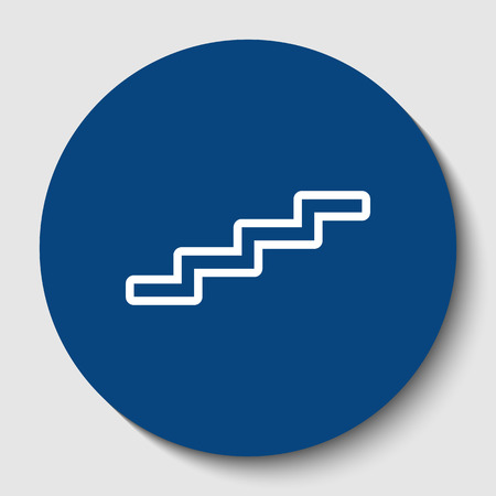 Stair up sign. Vector. White contour icon in dark cerulean circle at white background. Isolated.